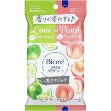 BIORE влажные салфетки для женщин с рассыпчатой пудрой Магия Аромата от лайма к прекрасному персику