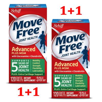 Schiff, Move Free, здоровье суставов, глюкозамин, хондроитин и МСМ, 120x2 таблеток, покрытых оболочкой