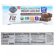 Garden of Life Органический батончик Organic Fit, шоколадно-миндальное пирожное, 14 г белка, 12 шт,(55г х 12 шт) подходит для веганов