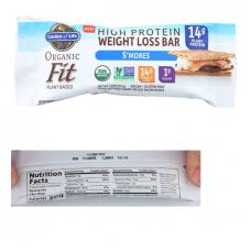 Garden of Life Органический батончик Organic Fit, потеря веса, зефир и шоколад с галетами, 14 г белка, (55г х 12 шт) подходит для веганов