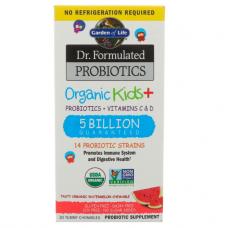 Garden of Life Dr. Formulated  органические  пробиотики ( 5 миллиардов) для  детей, пробиотики + витамины C & D, со вкусом арбуза, 30 жевательных таблеток