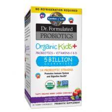 Garden of Life Dr. Formulated органические пробиотики (5 миллиардов) для детей, пробиотики + витамины C & D, со вкусом натуральных ягод, 30 жевательных таблеток