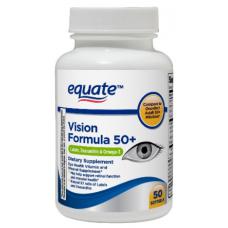 Equate Vision Formula 50+/ Формула Зрения 50+  с Лютеином, Зеаксантином и Омегой 3,  мягкие капсулы, 50 штук