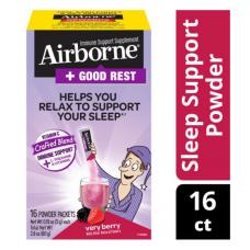 AirBorn Помощь Иммунной Системе + Хороший сон порошок cо вкусом ягод и витамином С, 16 пакетиков по 5 гр., пищевая добавка