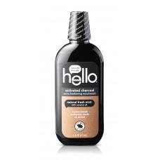 Hello Активированный уголь Экстра освежающая жидкость для полоскания рта, натуральная свежая мята, без спирта, веганский, 473 мл