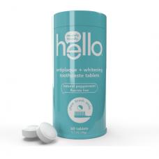 Hello  Зубная паста в таблетках Против образования зубного налета + Отбеливание, Натуральная перечная  мята без фторида, 60 шт., 48 г., веганский продукт