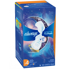 Always Infinity, Always Infinity Size 4 Overnight Sanitary Pads with Wings, Unscented, 26 Count