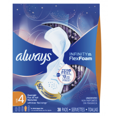 Always Infinity, Always Infinity Size 4 Overnight Sanitary Pads with Wings, Unscented, 38 Count