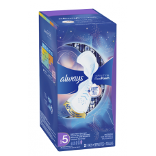 Always Infinity Size 5 Extra heavy flow Overnight Sanitary Pads with Wings, Unscented, 22 Count