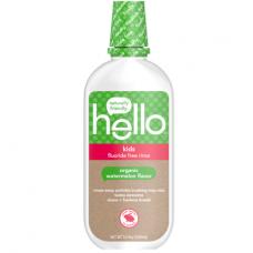 Hello Kids натуральный ополаскиватель для рта без фтора для детей, со вкусом арбуза, веганский, 473 мл