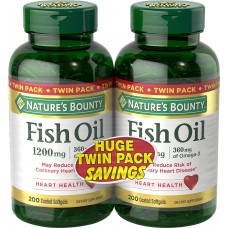 Nature's Bounty Fish Oil Omega-3, Рыбий жир Омега -3, 1200 мг, 400 (200 капсул x 2 уп.)