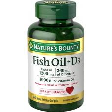 Nature's Bounty Fish Oil + D3, Рыбий жир + Д3, 90 быстрорастворимых мягких капсул
