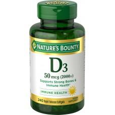 Nature's Bounty, D3, 50 mcg (2000 IU), 240 быстрорастворимых капсул