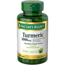 Nature's Bounty, Turmeric, 1,000 mg, Plus Black Paper Extract 60 Capsules