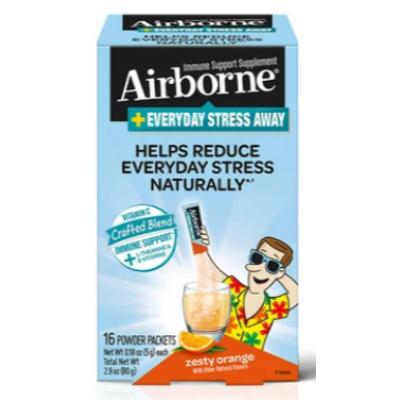 Airborne Plus Без стресса каждый день, в пакетиках Zesty Orange 16 Ct