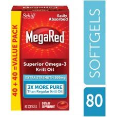 MegaRed 500 мг Дополнительная Сила омега-3 из масла криля,80 мягких капсул (40+40)