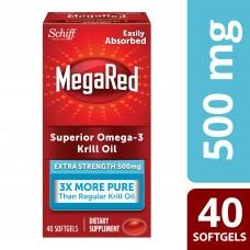MegaRed 500 мг Дополнительная Сила омега-3 из масла криля,40 мягких капсул