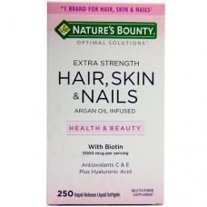 Nature's Bounty Optimal Solutions, Extra Strength Hair, Skin & Nails, Оптимальное решение Экстра крепкие Волосы, Кожа и Ногти, 250 капсул